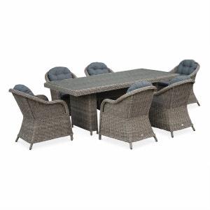 Table de jardin 6 places en résine tressée arrondie - Lecco Naturel - Coussins anthracite - 6 fauteuils, 1 grande table ALICE S GARDEN
