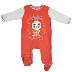Grenouillère bébé fille velours orange Papill PETIT BEGUIN