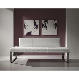 Banquette contemporaine SoftWay 180 cm en cuir blanc neige SEANROYALE