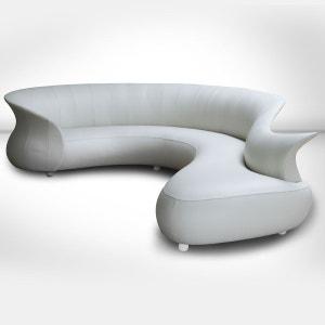 Canape Blanc Cuir Design La Redoute - Canape blanc cuir design