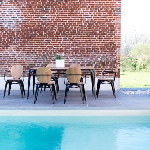 Table d'extérieur en métal et bois de saule 170 Sam noire TIKAMOON