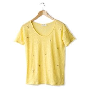 T-shirt de mangas curtas em linho, bordados palmeira MARIE SIXTINE