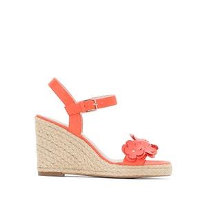 Leren sandalen met sleehak en fantasie bloemen ANNE WEYBURN