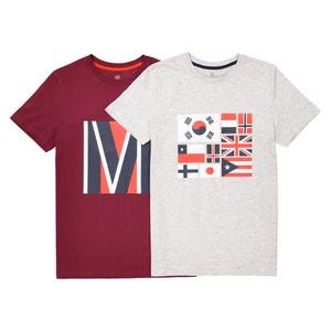Bedrukt T-shirt 10-16 jr (set van 2) La Redoute Collections