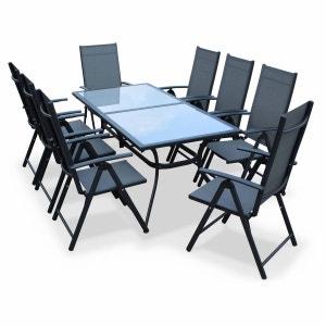 Salon de jardin en aluminium table 8 places anthracite textilène fauteuil ALICE S GARDEN