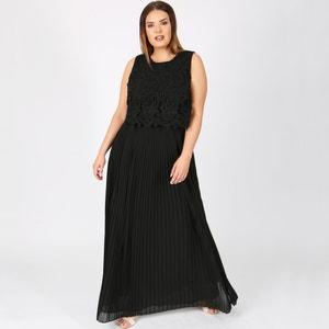 Ärmelloses, langes, ausgestelltes Kleid, obere Partie aus Spitze LOVEDROBE