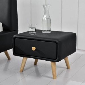 Scandi noir : table de chevet scandinave noire avec 1 tiroir et 4 pieds en bois CONCEPT USINE