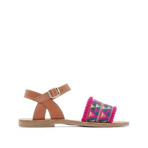 Sandálias em pele e bordados abcd'R