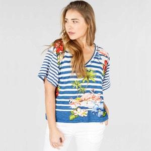 T-shirt scollo a V fantasia, maniche corte RENE DERHY
