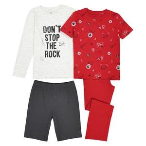 Confezione da pigiama lungo + pigiama-shorts da 3 a 12 anni La Redoute Collections