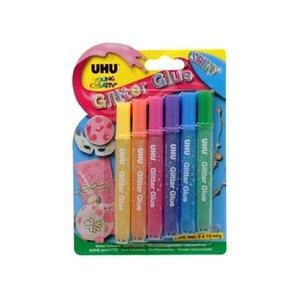 6 Stylos Colle 10ml UHU Young créative glitter glue shiny UHU