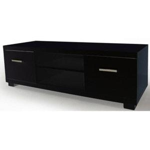 Meuble TV 2 tiroirs 2 niches laqué noir TRIANGE DECLIKDECO