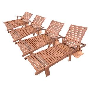 Chaise longue transat en solde la redoute for Bain de soleil bois pliable