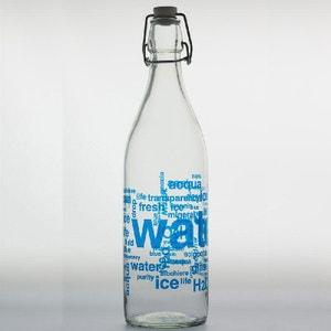 bouteille en verre acqua serigraphiée bleu 1l - TABLE PASSION