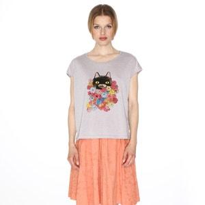 T-shirt met korte mouwen en katmotief PEPALOVES