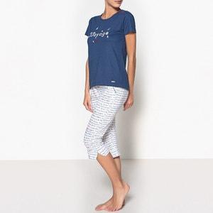 Piżama 3/4 z bawełny organicznej, wzorzysta, Oceane DODO