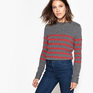 Пуловер шерстяной в полоску La Redoute Collections