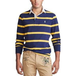 Rechte polo custom fit met strepen, Rugby