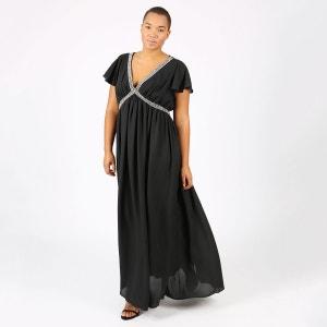 Robe plissée uni longue, manches courtes LOVEDROBE