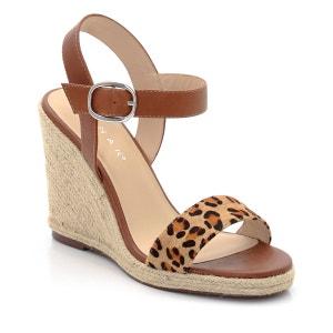 Sandálias em pele, presilha com motivo animal, tacão de cunha em corda JONAK