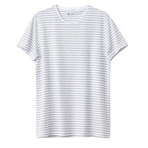 Camiseta a rayas con cuello redondo 100% algodón La Redoute Collections