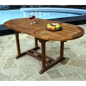 Table ovale de jardin en teck huilé avec rallonge papillon : 120-180 x 90 cm WOOD EN STOCK