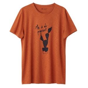Camiseta 100% algodón estampada con cuello redondo R essentiel
