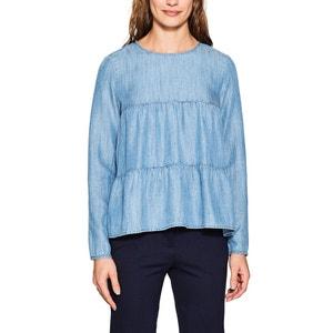 Langärmelige Bluse, runder Ausschnitt, uni ESPRIT