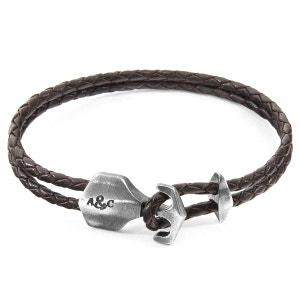 Bracelet Ancre Delta Argenté et Cuir ANCHOR & CREW