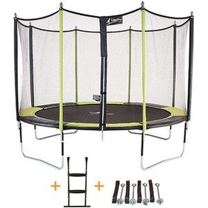 Trampoline de jardin 365 cm + filet de sécurité + échelle + kit d'ancrage JUMPI POP 360 KANGUI