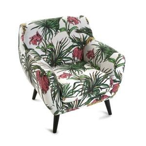 Fauteuil Club en tissu motif Tropical coloré et pieds bois noirs 68x63x76cm MIAMI PIER IMPORT