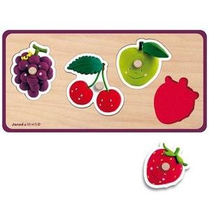 Encastrement 4 pièces en bois : Puzzle Quadrifruits Fleurus JANOD