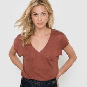 T-shirt manches courtes col V en lin La Redoute Collections