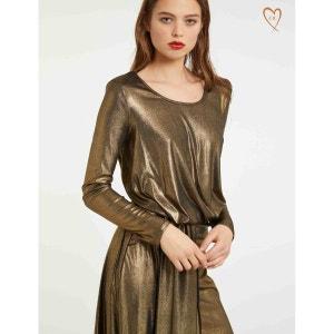 Robe asymétrique drapée effet lamé MORGAN