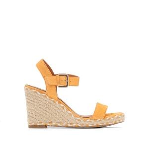 Bicolor sandalen met sleehak atelier R