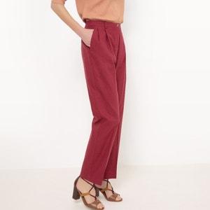 Rechte broek met hoge taille, Linnen R essentiel