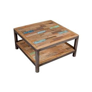 Table basse carrée bois recyclé double plateaux 80x80x40cm CARAVELLE PIER IMPORT