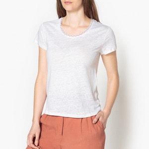 Camiseta de lino bordado en el cuello JESSICA HARRIS WILSON