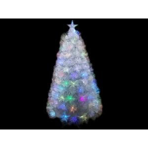 Sapin de Noel artificiel Fibre Optique Blanc 90 cm JARDIDECO