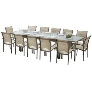 Ensemble table et chaises de jardin MODULO 12 PLACES TAUPE WILSA