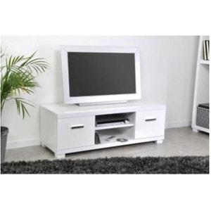 Meuble TV 2 tiroirs 2 niches laqué blanc TRIANGE DECLIKDECO