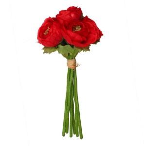 Fleurs artificielles Bouquet 6 Renoncules - H. 25 cm - Rouge ATMOSPHERA