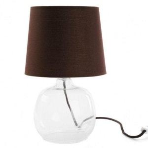 LAMPE EN VERRE ABAT JOUR MARRON NATACHA B