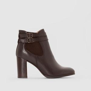 Boots in leer met hak en gespen Abria JONAK