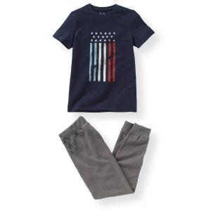 Pyjama bi-matière imprimé drapeau 10-16 ans R pop