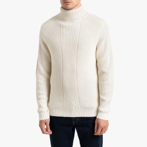 Trui met rolkraag in geribd tricot