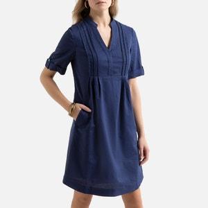 Rechte jurk in linnen en katoen