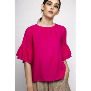 Effen blouse met ronde hals en korte mouwen COMPANIA FANTASTICA