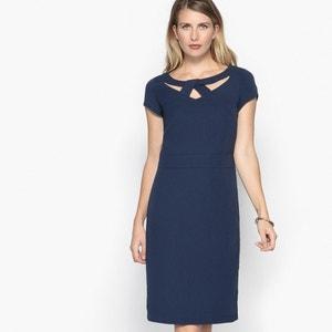 Rechte jurk, stretch keperstof, korte mouwen ANNE WEYBURN