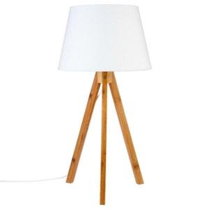 Lampe en bambou forme trépied et abat-jour coton blanc D28xH55cm PIER IMPORT